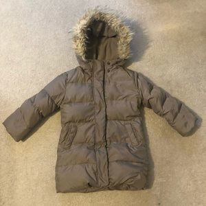 Gap Kids Brown Puffer Coat with Furry Hood